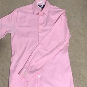 Long Sleeve Casual Pink Button Down Shirt